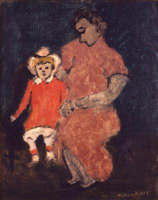 [Woman and child on sofa]