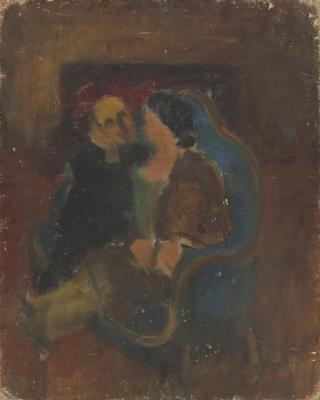 [Woman on blue love seat]