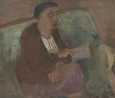 [Reclining woman on green sofa]