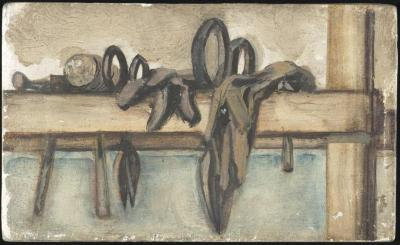 [Still lifes with tin snips] Gyral Sketch Book 2, page 53