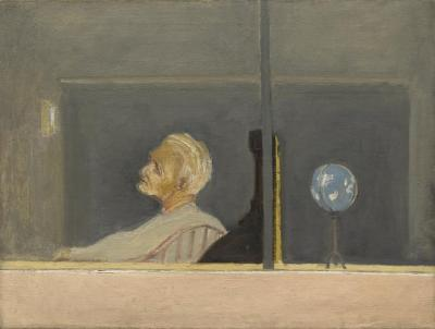 [Man in interior with cash register and globe]    Gyral Sketch Book 2, page 3