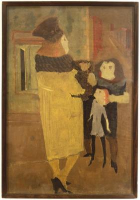 [Woman and two children]