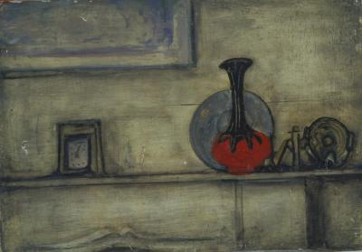 [Figure study / still life with vase and bottle]