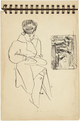 [Seated woman / still life with statues]    Gyral Sketch Book 2, page 12