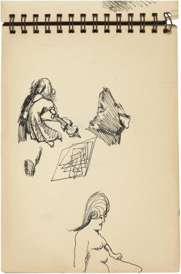 [Woman with violin / head of a dog / seated female nude]    Gyral Sketch Book 2, page 23