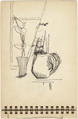 [Still life with plant in vase and pitcher]    Gyral Sketch Book 1, page 34
