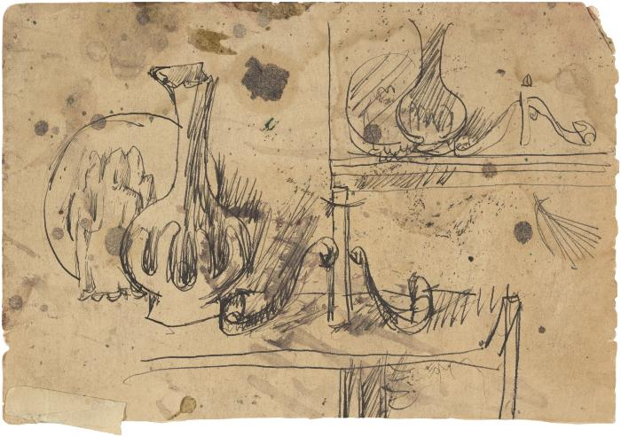 [Still life with plate, statue, vase, candlestick] Gyral Sketch Book 2, page 56 (loose)