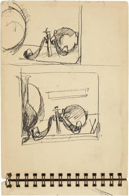 [Two still lifes with pipe, vase, candlestick, plate, and saucer] Gyral Sketch Book 2, page 43
