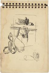 [Still life with tin snips and mallet]    Gyral Sketch Book 2, page 52