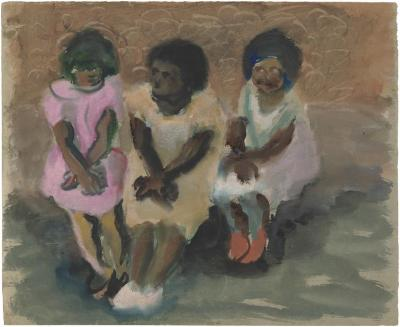 [Three seated females]
