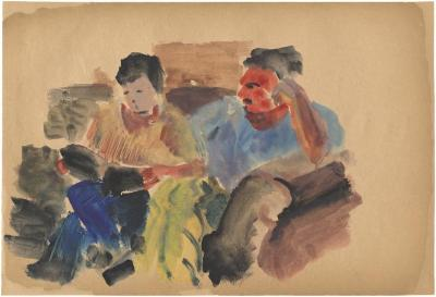 [Boy and man on sofa]