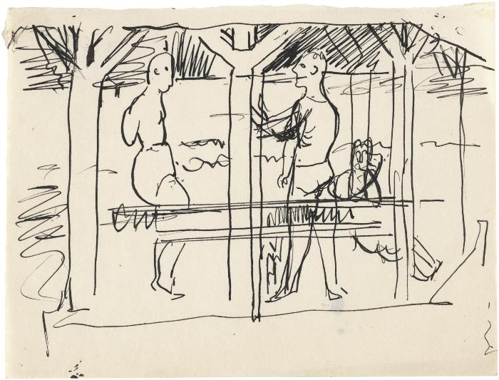 [Figures in a pavilion]