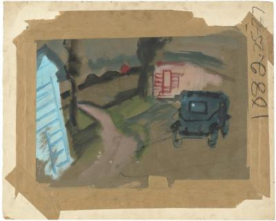 [Rural scene with automobile]