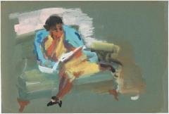 [Woman on green sofa reading]