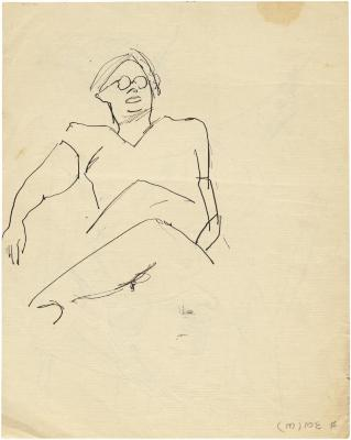 [Seated figure with eyeglasses]