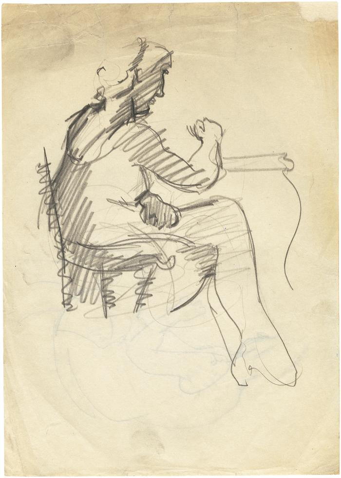 [Woman seated at table]