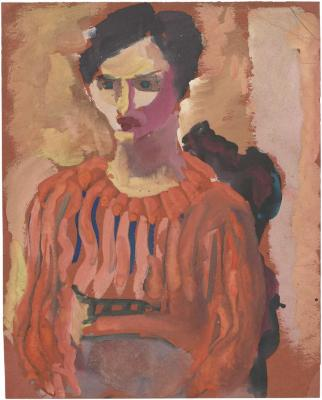 [Seated woman in striped blouse]