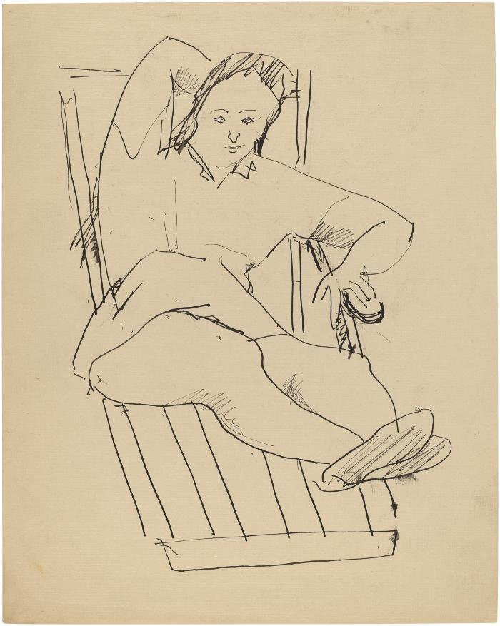 [Woman on deck chair]