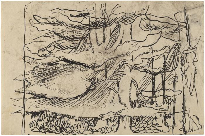 [Trees with figure]