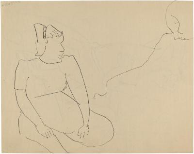 [Seated woman and partial figure]