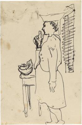 [Woman standing by window]