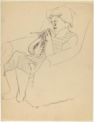 [Woman in armchair knitting]
