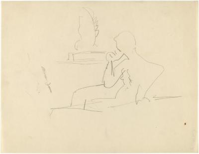 [Seated figure]
