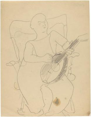 [Boy with mandolin in rocking chair]