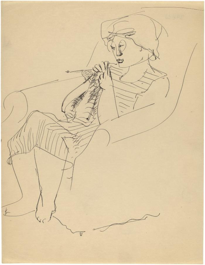 [Woman in armchair knitting]