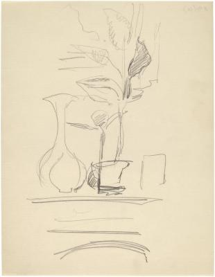 [Vase and plant cuttings on mantel]