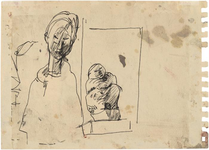 [Still life with two statues]