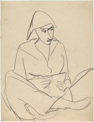 [Seated woman reading]