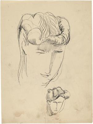 [Head of a woman, two studies]