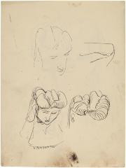 [Head of a woman, three studies]