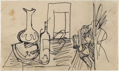 [Still life with vase and bottle]
