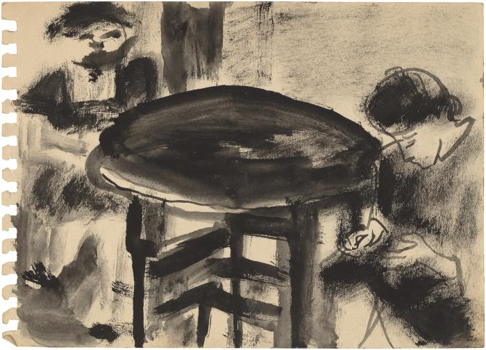 [Two women seated at table]