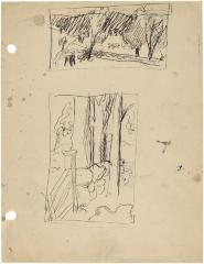 [Farm with animals / stone wall, gate, and trees]