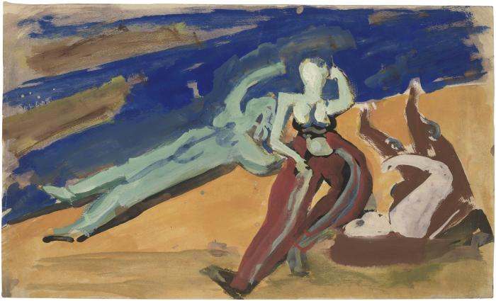 [Three figures at the shore]