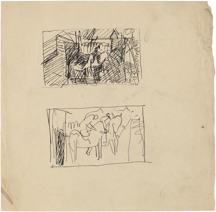[Horses and riders, two studies]