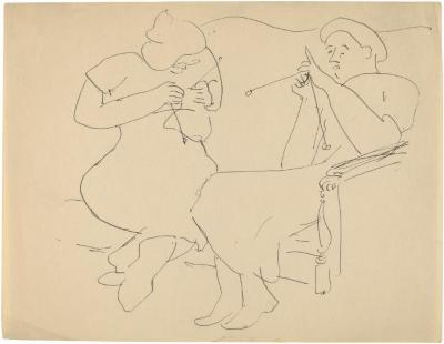 [Two women knitting on sofa]