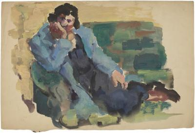 [Reclining woman on green sofa]