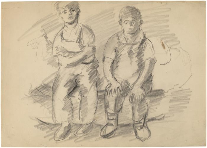 [Two seated boys]