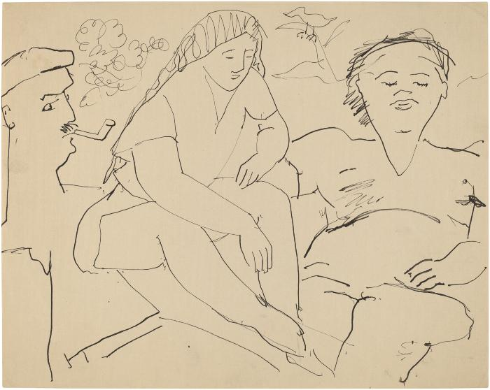 [Three figures in outdoor setting]