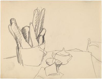 [Still life with bread basket and sugar bowl]