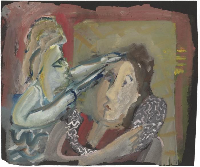 [Two women styling hair]