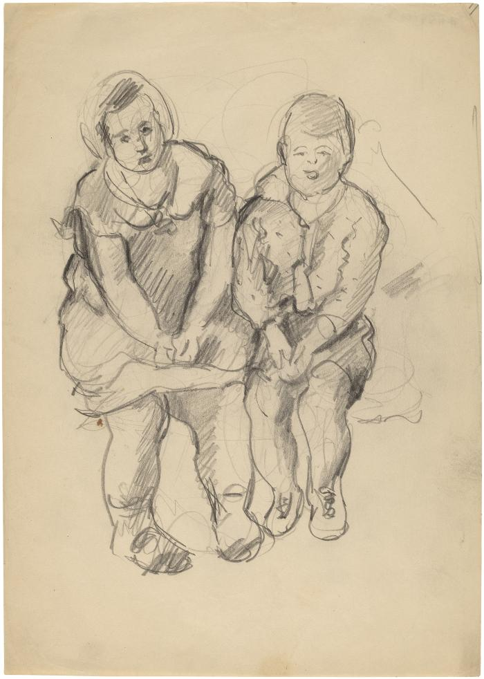 [Seated girl and boy]