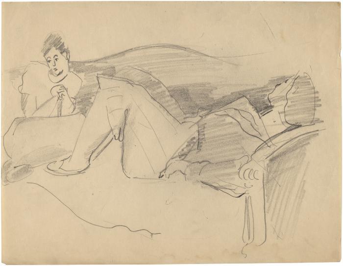[Two women on sofa]