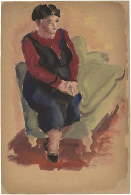 [Woman on arm of green sofa]