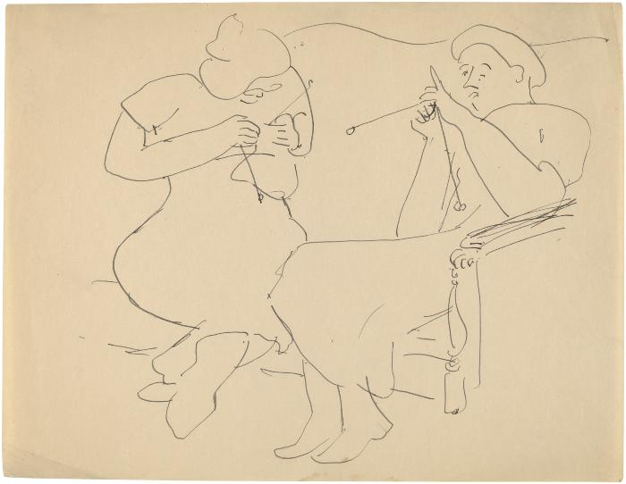 [Two women knitting on sofa]