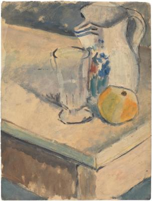 [Still life with pitcher, glass, and orange]